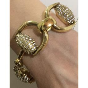 Pulseira Prata Com Cristais Banhada Ouro Lindissima 19cm