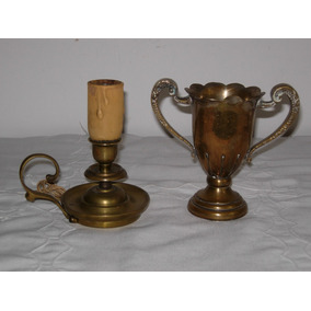 Gran Lote De Antiguo Velador De Bronce Palmatoria Y Copa