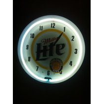 Anuncio Reloj De Lamina Luz Neon De Cerveza Miller Lite Daa