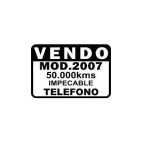 Cartel Vendo Auto | Calco Vendo | Sticker | Plotter | Vinilo