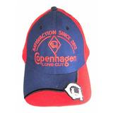 Boné Copenhagen Long Cut Branco Azul Marinho E Vermelho Peao