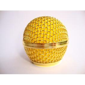Grelha De Aço Dourada Para Shure Sm58, Slx E Pgx - Id8888