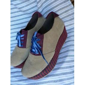 Zapato Plataforma Birckens Cuero Gamuza Viamo Nº 40 Nuevo
