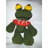 Muñeco Sapo Pepe Tejido Al Crochet Artesanal Amigurumi.