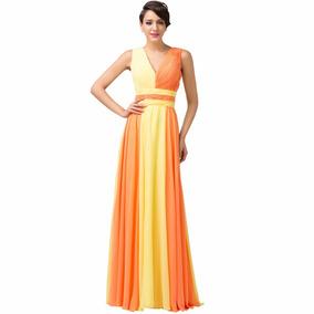 Vestido De Debutante Laranja 34 36 38 40 42 44 46 48 Vg00345
