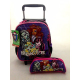 Kit Monster High Original : Mochila Rodinhas Pp + Estojo