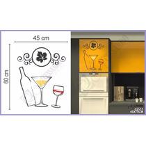 Adesivo Papel Parede Geladeira Armario Cozinha Vinho Garrafa