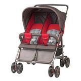 Carrinho De Bebê Gêmeos Grafite/vermelho Amortecedor Freios