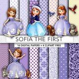 Kit Imprimible Pack Fondos Princesa Sofia Disney 55 Clipart