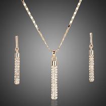 Elegante Set Swarovski Collar Dije Aretes Evento Novia Amor