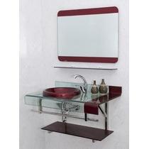 Gabinete De Vidro Chopin Com Espelheira Vinho E Preto 70 Cm