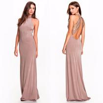 Vestido Apricot Elegante Largo Escote Espalda Fiesta Grados