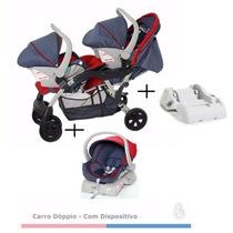 Carrinho Para Gêmeos Dóppio Com Bebe Conforto E Base Jeans