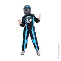 Fantasia Macacão Piloto Hot Wheels C/capacete Tam P 2/4 Anos