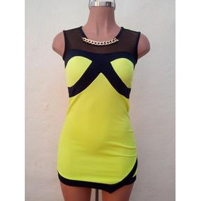 Moda Sexy Mini Vestido Amarillo Neón Franjas Negras Y Collar
