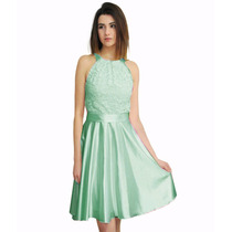 Vestido Escote Halter De Saten Con Encaje, Brishka M-0054