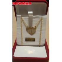 Conjunto Media Medalla Corazon Oro + Cadenas Dama- Caballero