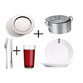 Kit Buffet Caçarola + Copo + Talheres + Sousplat + Prato