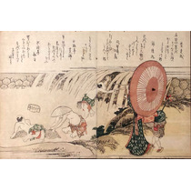Hokusai Ukiyo-e Japon Pescando En La Cascada Xilografia 1800