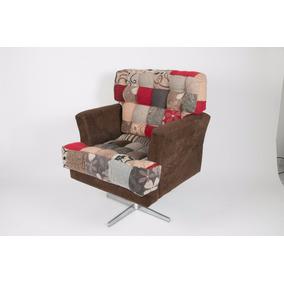 Cadeira Poltrona Decorativa Ellegance Giratória Patchork