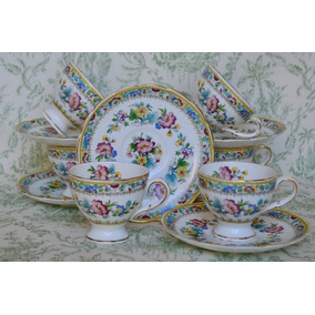 Juego 6 Tazas Cafe Porcelana Foley China England Ming Rose
