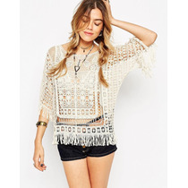 Remeron Calado Crochet Importado Flecos Look Chic Summer