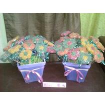 Combo De 2 Golosineros De 25 Flores De Gomitas Con Maceta