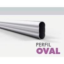 Perfil Caño Oval Aluminio Anodizado Natural Grupoeuro X 3mts