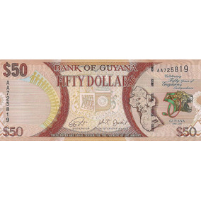 Guyana - 50 Dólares - 2016 Com Overprint - Ler Informações