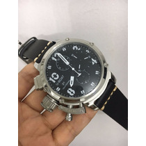 Relógio U-boat Quartz Prata Mostrador Preto Detalhes Branco
