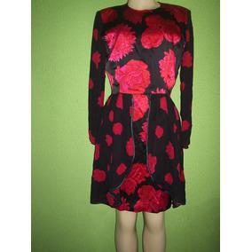 Vestido Seda Cetim Estampa Floral Tamanho M