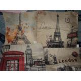 Capas Para Almofadas Estampa Londres Ou Paris - Importada