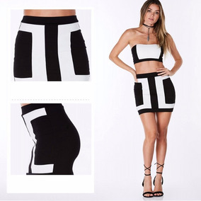 Sexy Mini Falda Blanco Con Negro, Tallas M Y L