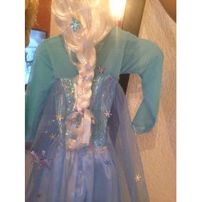Vestido Original Elsa Frozen Con Peluca,capa,corona,guantes