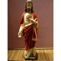 Imagem Gesso Sagrado Coração De Jesus 80cm Fino Acabamento.