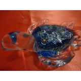 Enfeite Ornamento Tartaruga De Cristal Murano Peso De Papel