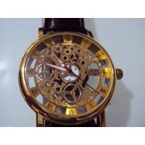 Reloj Kings Tipo Skeleton Maquina De Cuarzo Ext En Piel