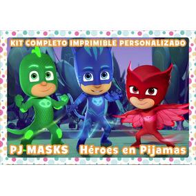 Kit Comp Imprim Pers Pj Masks Héroes En Pijamas C Candy Bar