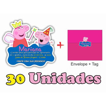 30 Convites Peppa Pig Com Corte Especial + Envelopes + Tags