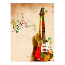 Placa Decorativa Guitarra Grande Em Metal