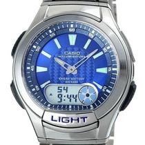Relógio Pulso Casio Aq- 180wd Pulseira Aço Alarme Cronografo