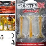 Kit Camarões Artificiais Monster 3x + Jig Head Anzóis Black
