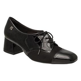 Sapato Oxford Feminino Piccadilly Verniz Salto Geométrico