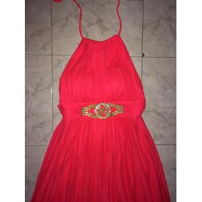 Vestido Rosa Largo - Corto Halter Cache Original Talla 2
