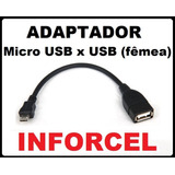 Adaptador Micro Usb V8 P/ Usb Fêmea S3 Tablet Modem
