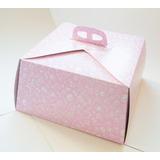 Cajas Para Tortas De 29x29x15 Estampado Rosa(x 100 Unidades)