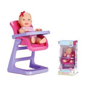 Boneca Mini Miudinha Cadeira De Papinha