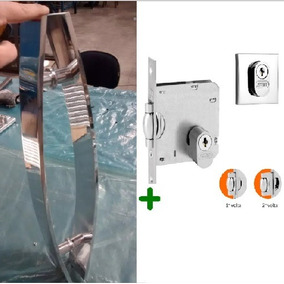 Kit P/ Porta Pivotante Puxador Curvo 60cm + Fechadura Rolete