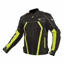 Chamarra Para Motociclista R7 Racing Verde R7-301 Textil