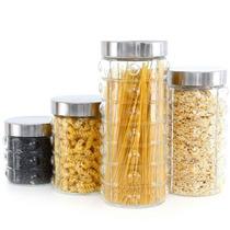 Conjunto De Potes Para Mantimentos Em Vidro Tampa Inox 4 Pç
